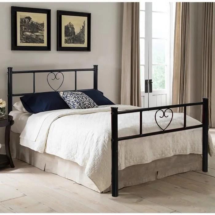 lit fer forge cadre de lit seul pour adulte 1 personne en metal noir sans sommier 195 x 91 7 cm