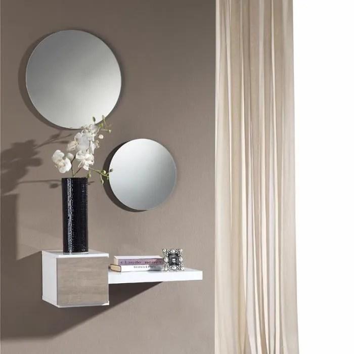 meuble d entree blanc chene clair miroir tiga l 61 x l 28 x h 20