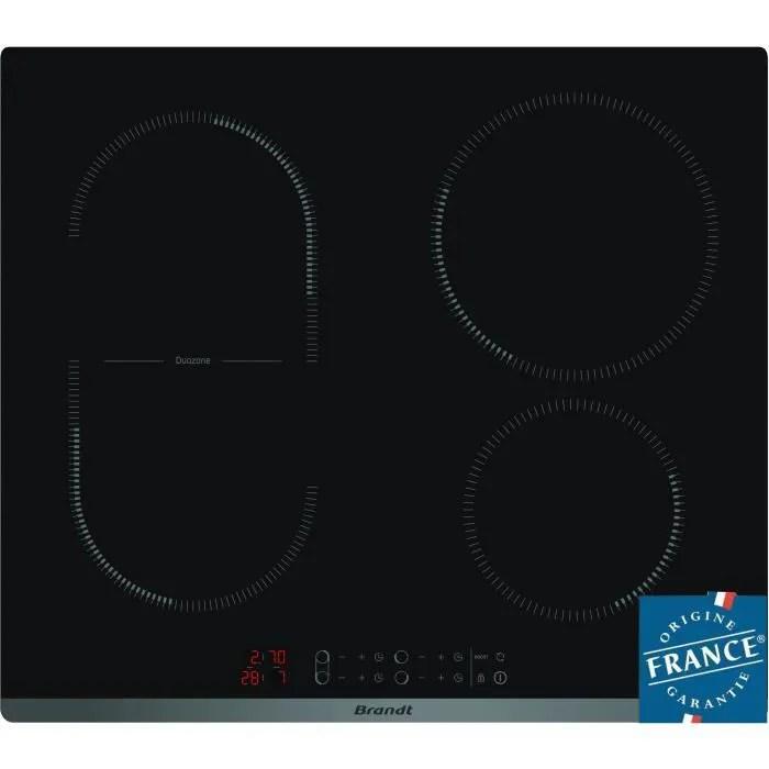 brandt cpi6400b table de cuisson induction 4 zones 3600 w l 58 x p51 cm revetement verre noir