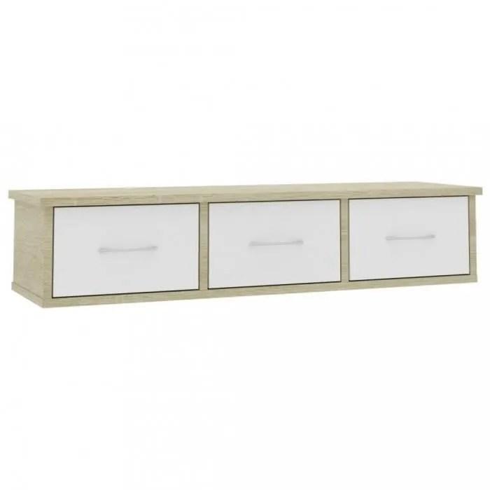etageres murales et corniches etagere murale avec tiroirs blanc et chene sonoma 90x26x18 5 cm