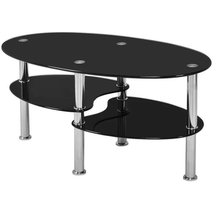 table basse ovale en verre trempe 3 niveaux 90 x 50 x 43 cm noir