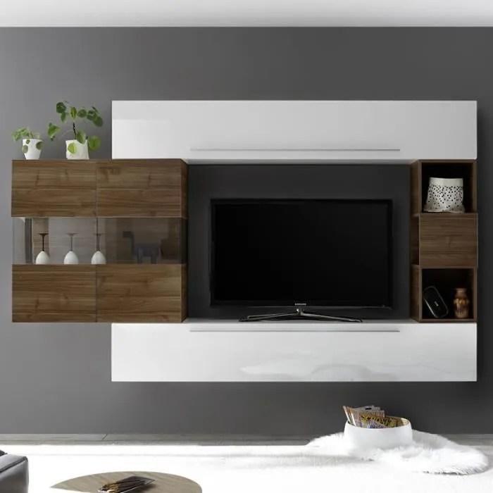 mur tv moderne blanc et couleur bois fonce alcamo