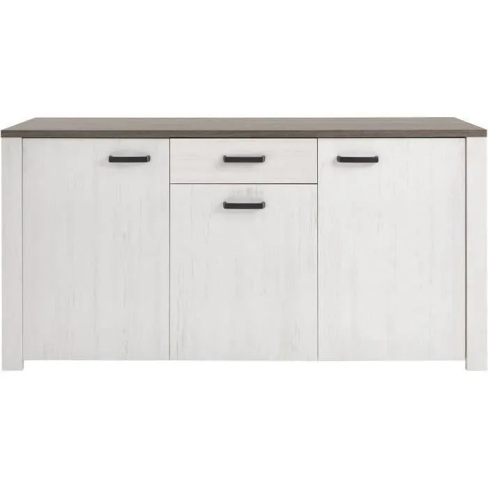 marquis buffet bas contemporain blanc perle decor chene et decor pin l 175 cm