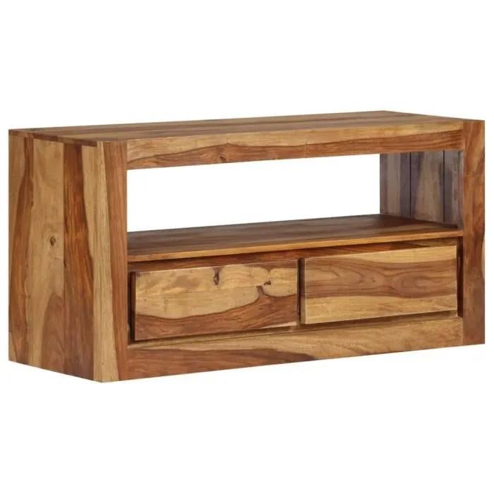 meuble tele buffet tv television design pratique bois massif de sesham 80 cm 2502181