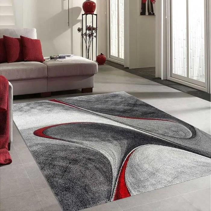 unamourdetapis grand tapis salon moderne et design madila 200 x 290 cm rouge gris et noir