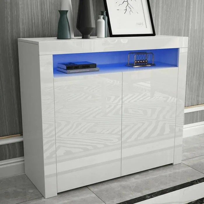 buffet bas led contemporain blanc laque brillant l 108 cm moderne 2 portes