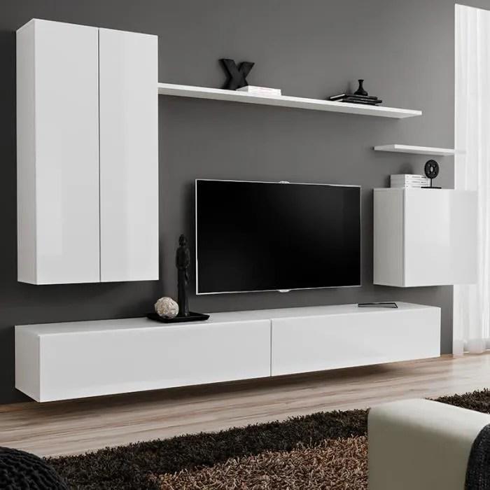 meuble tv suspendu blanc laque irsina 3 blanc l 27