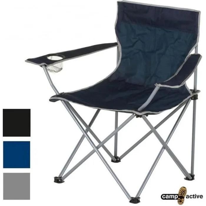 couleur noire chaise fauteuil telescopique pour camping peche plage ou jardin pliant avec housse de transport pliable