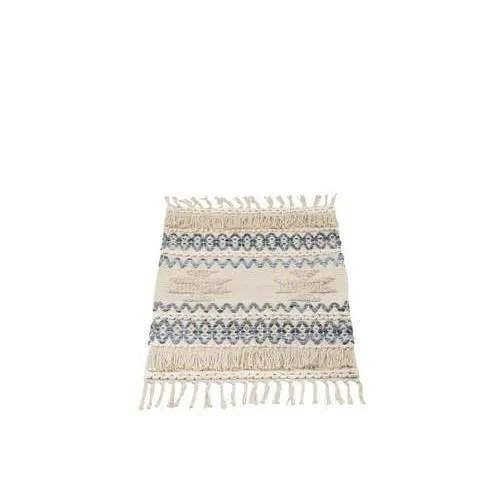 petit tapis denim en coton bleu et