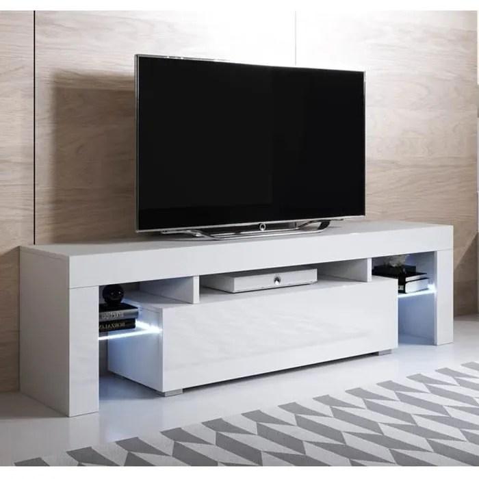 meuble tv unai 160x45cm blanc avec led rgb