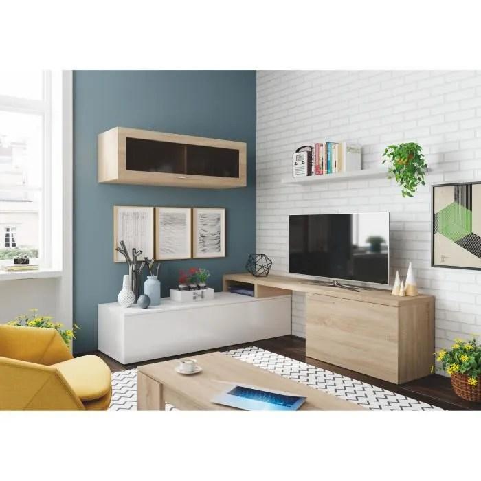 ensemble meuble tele d angle ou droit nexia bois et blanc