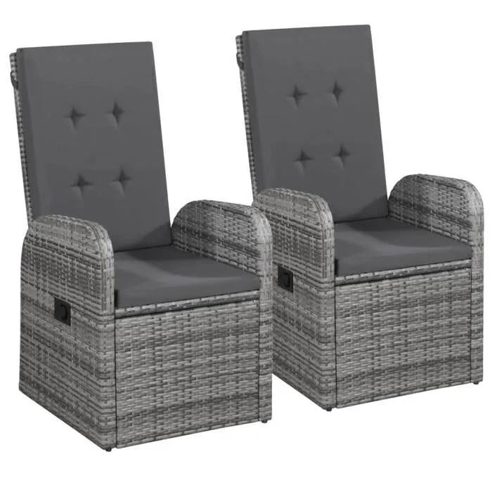 lot de 2 chaise inclinable de jardin