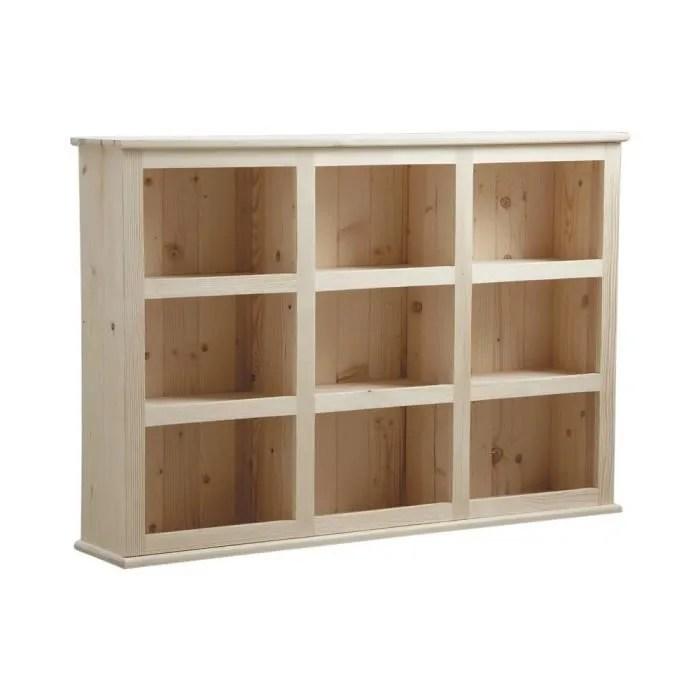 etagere en bois brut avec 9 casiers