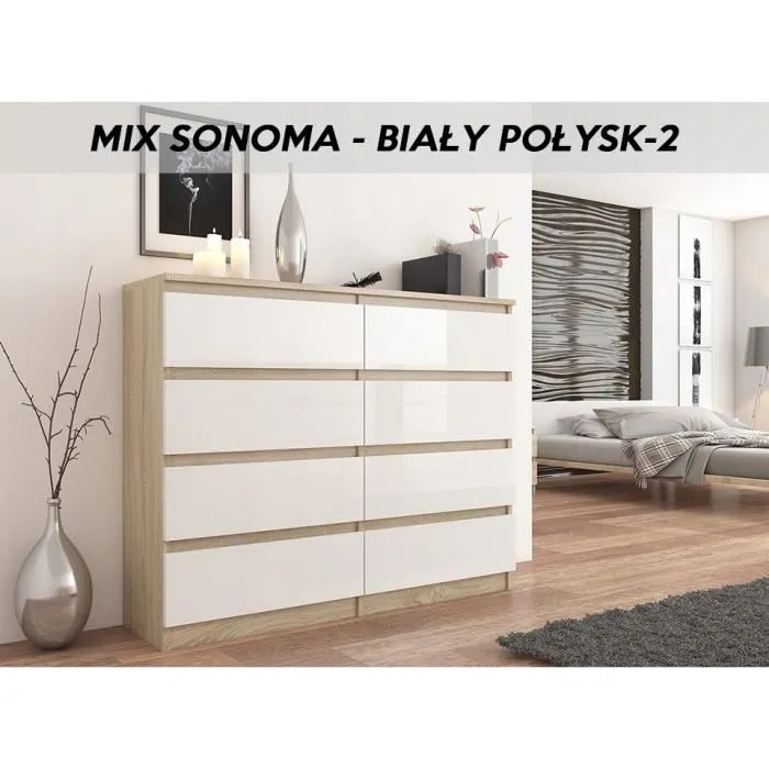 fira s2 commode moderne chambre salon bureau 140x40x98 8 tiroirs meuble de rangement style scandinave dressing chiffonier