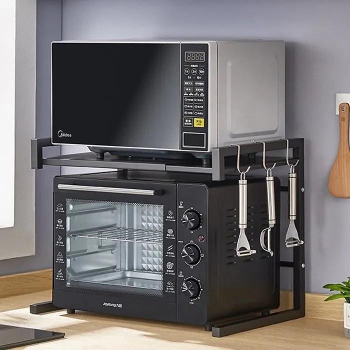 meuble rangement cuisine etagere multifonction pour micro ondes largeur reglable avec 3 crochets vinteky