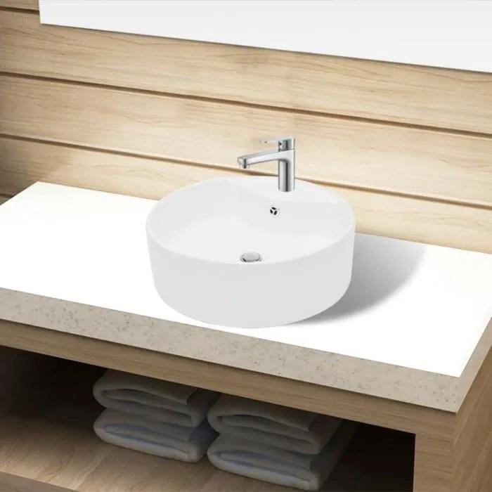 Salle De Bain Moderne Lavabo A Poser Vasque Ronde A Trou Pour Robinet Ceramique De Haute Qualite Blanc 465 155 Mm Achat Vente Lavabo Vasque Lavabo Vasque Cdiscount