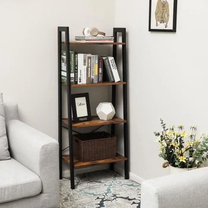 popsmit bibliotheque etagere design industrielle 4 niveaux meuble de rangement hauteur 138cm