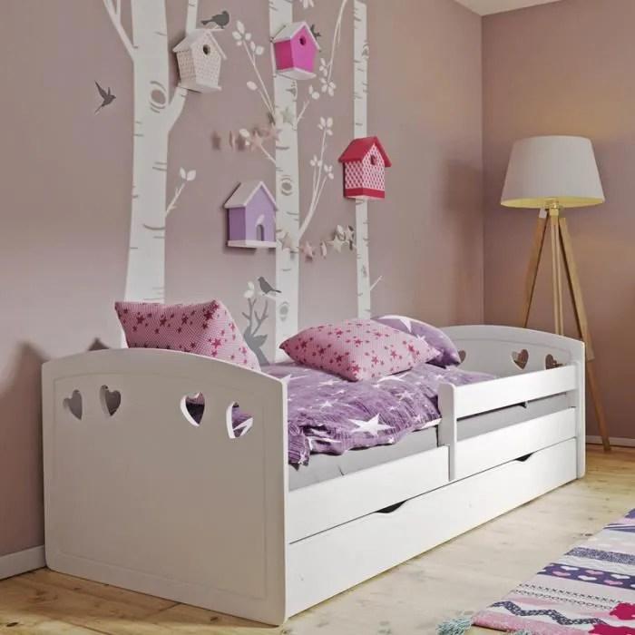 lit enfant avec barriere de securite derata 160x80 cm rblanc avec tiroir de rangement matelas inclus