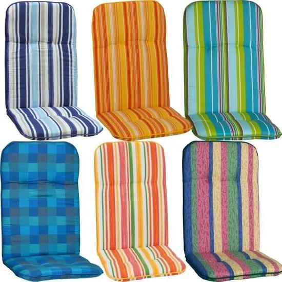 4x coussins pour chaise d exterieur dossier haut capri 114x47x5 cm bleu blanc remplissage de mousse made in eu okotex100