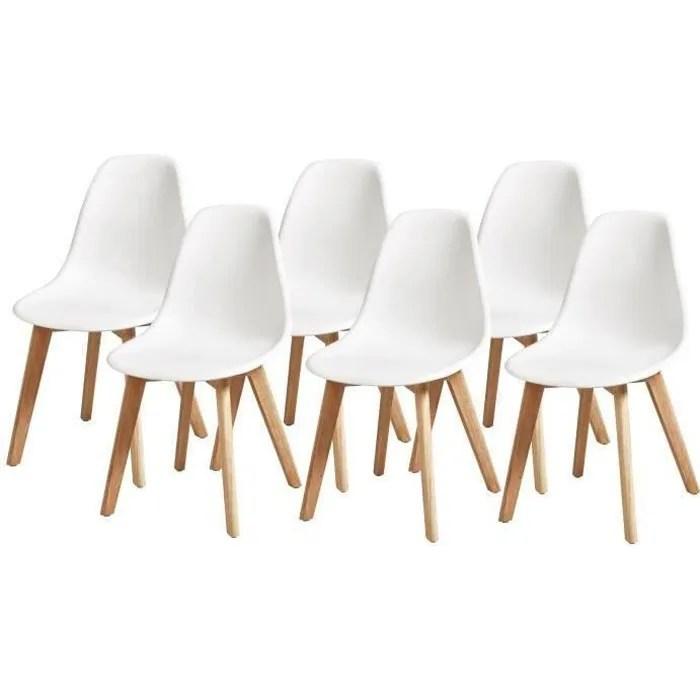 sacha lot de 6 chaises pieds en hevea blanc l 46 x p 53 x h 82