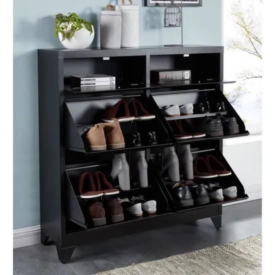 liverpool meuble a chaussure metal noir l 101 x p 30 x h 106 cm