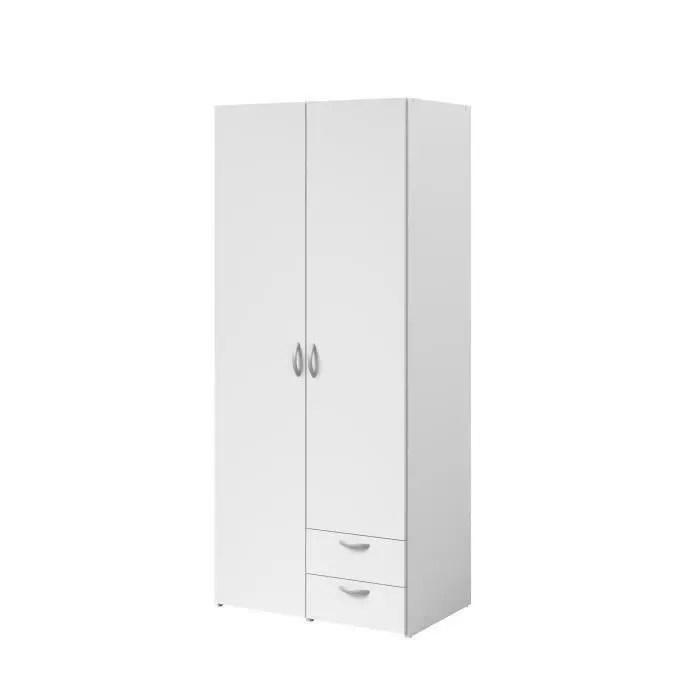 varia armoire de chambre 2 portes decor blanc l81 cm