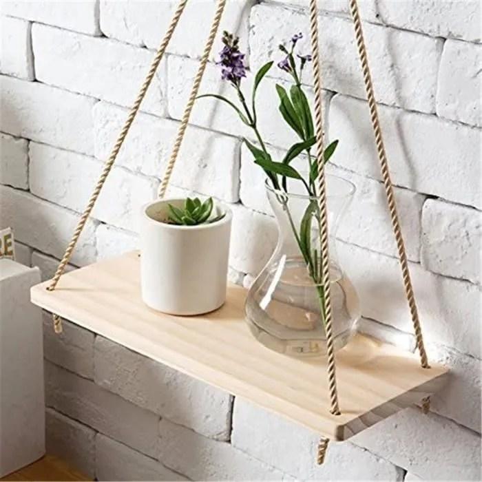 outils menagers kit meuble etageres flottantes murales suspendues en corde de bois de qualite superieure pot de fleurs pour