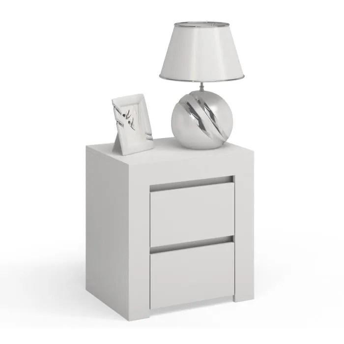 naples table de chevet nuit contemporaine minimaliste 2 tiroirs chambre 40x53 4x57 meuble de nuit style scandinave blanc