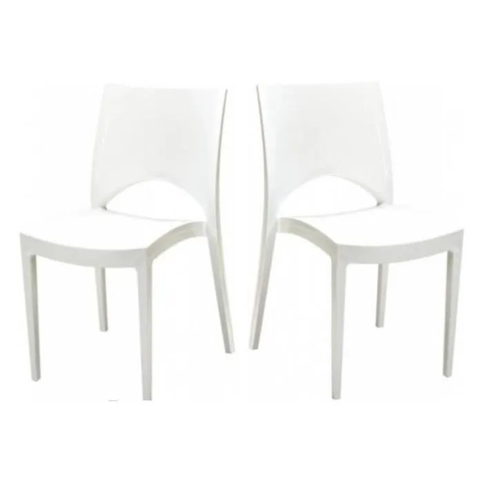 lot de 2 chaises design blanches delhi polypropylene chaise blanc design