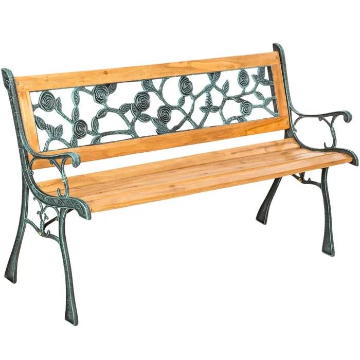 tectake banc de jardin en bois et fonte 124 cm x