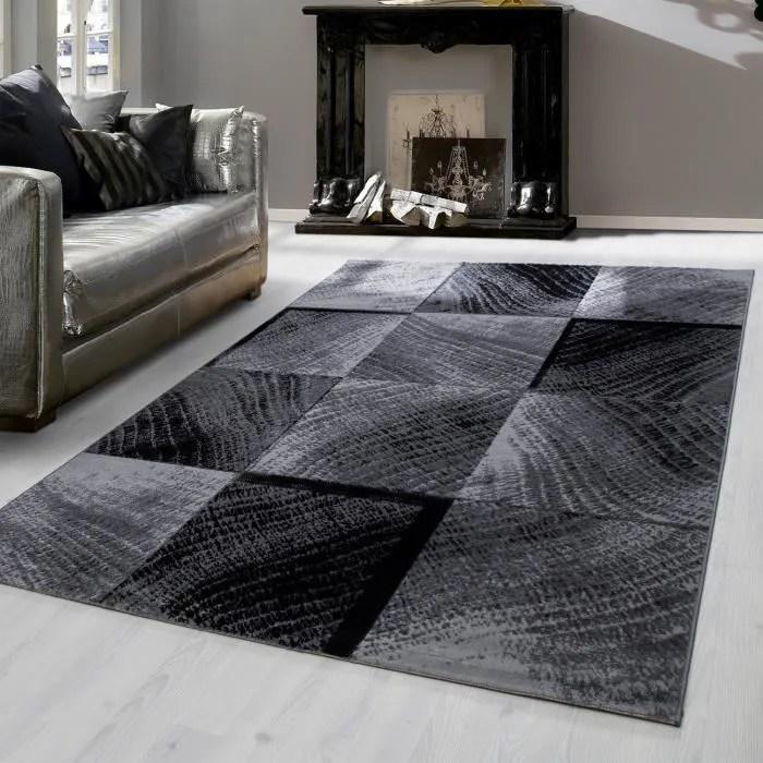 tapis court design moderne pour salon salle a manger salle a manger a carreaux vintage black weis 8003 120x170 cm