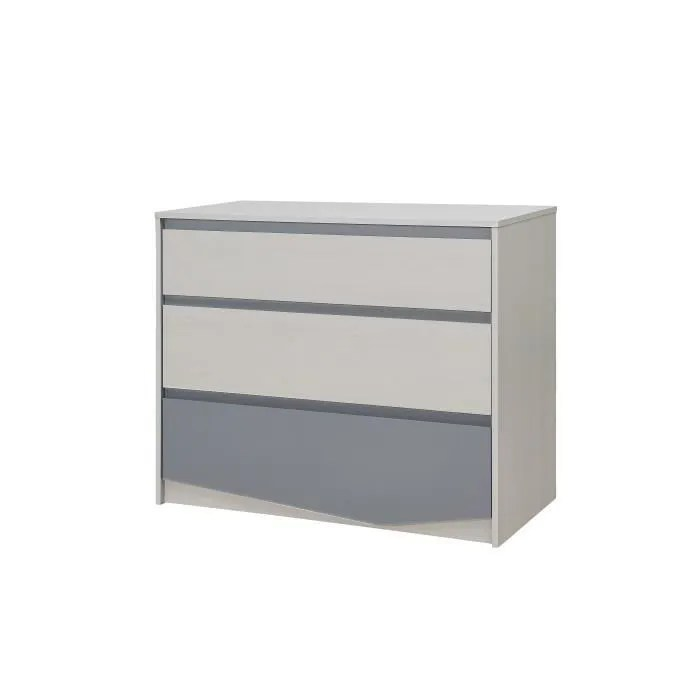 igloo commode enfant 3 tiroirs decor chene clair gris l97 6 x p45 x h81cm