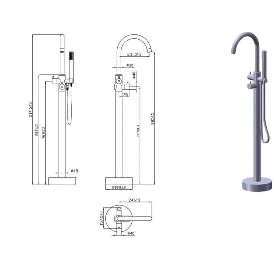 mitigeur charme colonne de sol bain et douche thermostatique essebagno pour baignoire ilot chromee