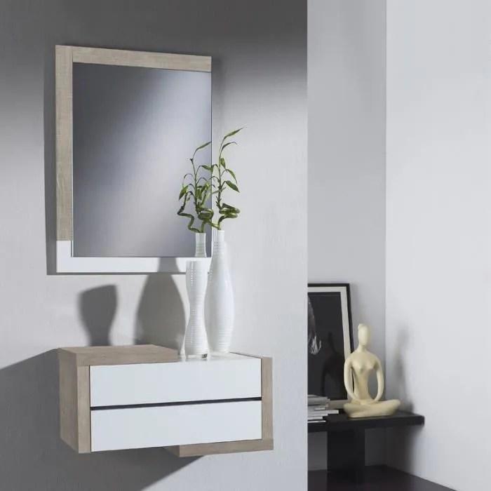 meuble d entree chene clair blanc miroir recto
