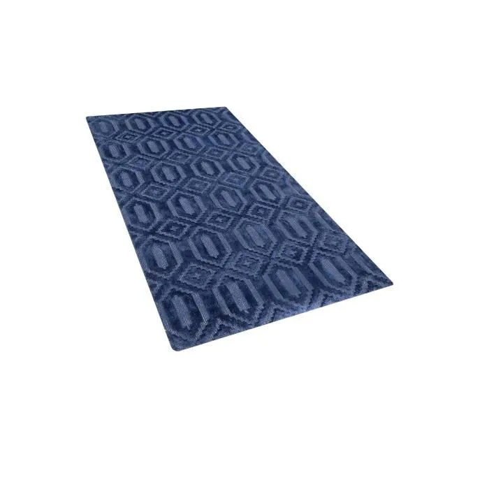 beliani tapis bleu marine 80 x 150 cm adatepe