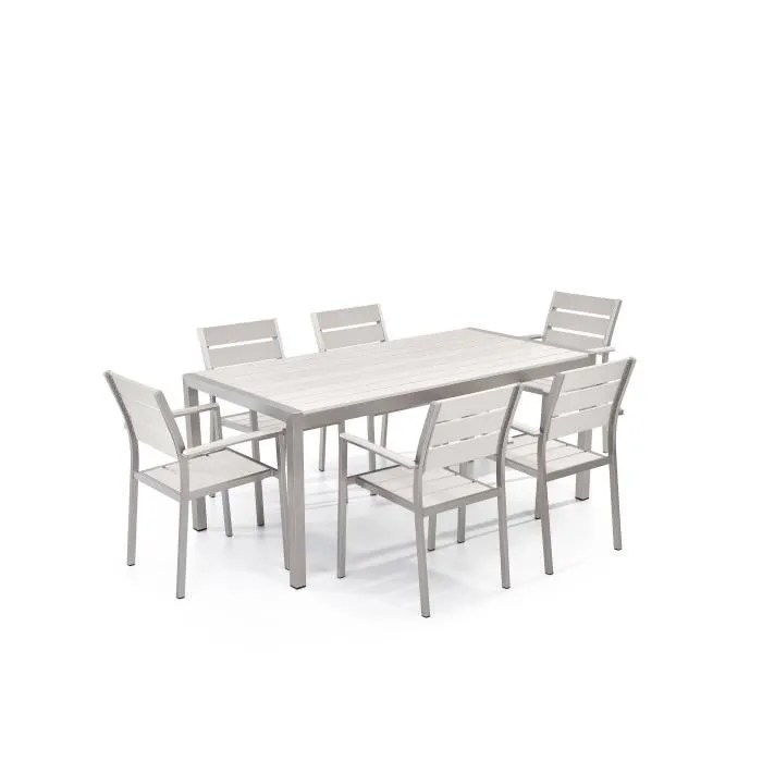 beliani set de jardin 6 places en aluminium et bois synthetique blanc vernio