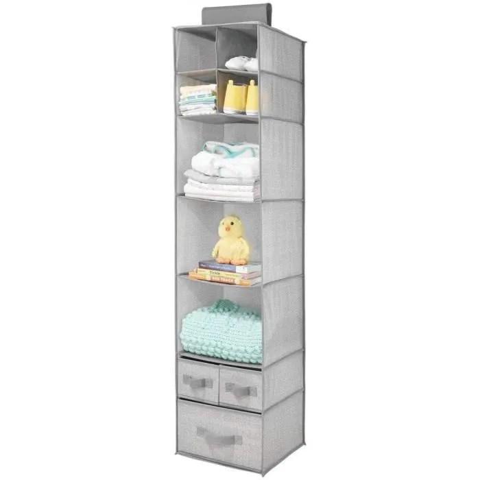 meuble chaussures no22 etagere suspendue en fibre synthetique rangement enfant avec 7 compartiments et 3 tiroirs rangement
