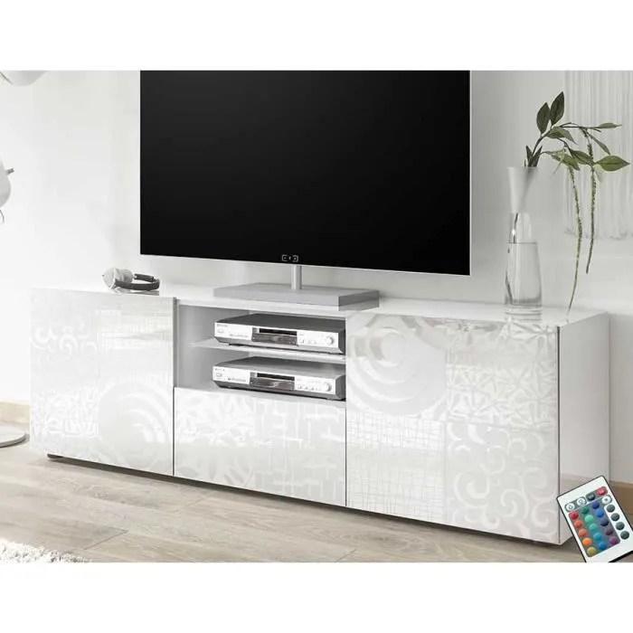 grand meuble tv blanc laque design elma avec ecla