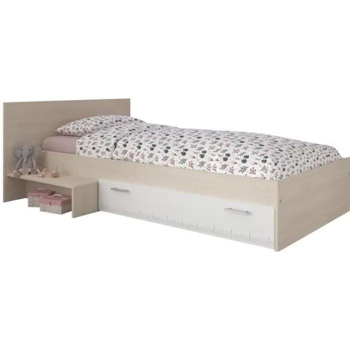 lit enfant l 90 x l 190 cm decor acacia et blanc tiroir contemporain charlemagne