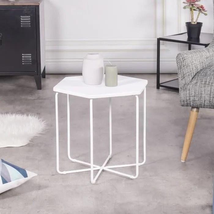 furnish1 petite table basse table d appoint fonte octogonale avec haut blanc jambe en metal blanc 45 5 40 41 5cm