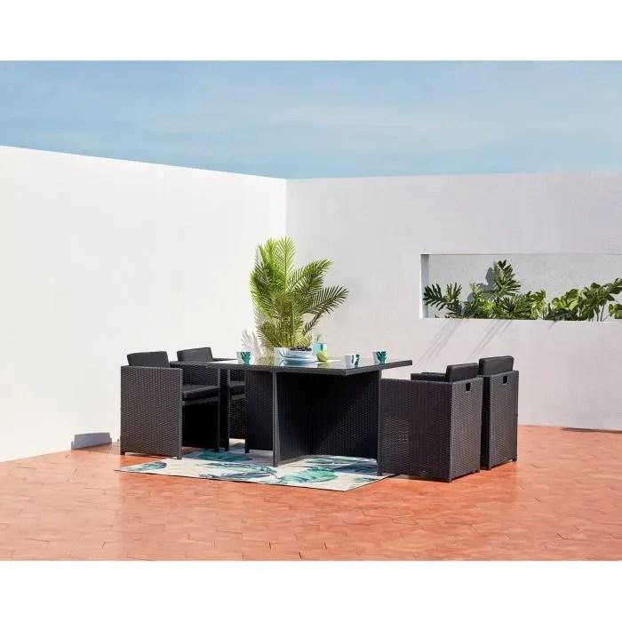 miami 4 salon de jardin encastrable 4 places en resine tressee noir gris