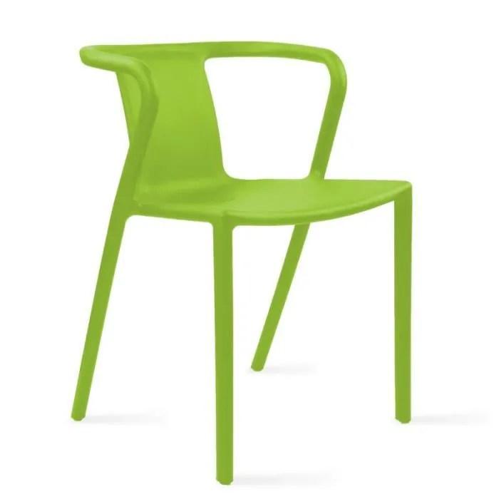 chaise de jardin empilable avec accoudoirs design en plastique
