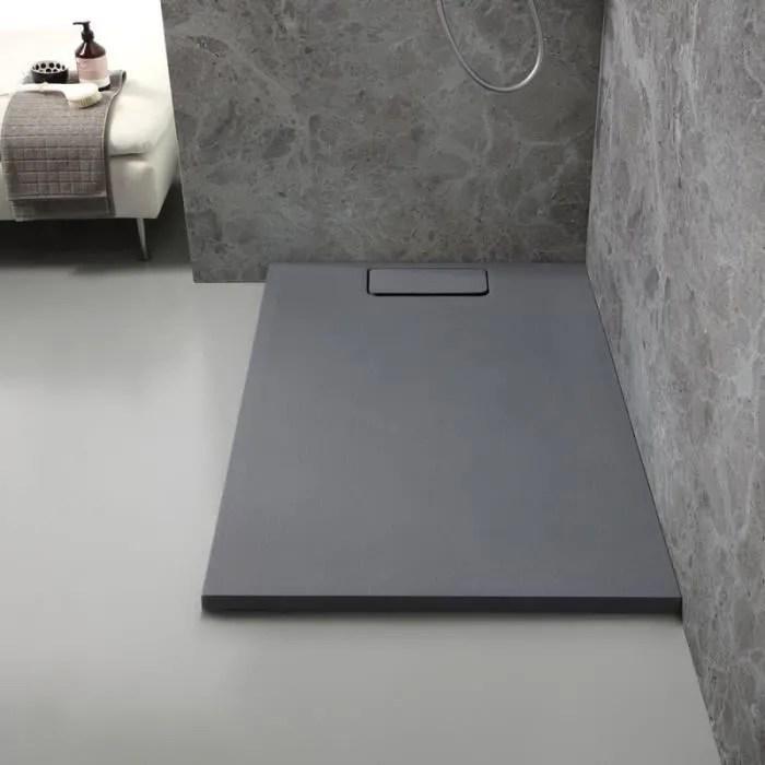 receveur de douche en resine gris ardoise 80x120 c