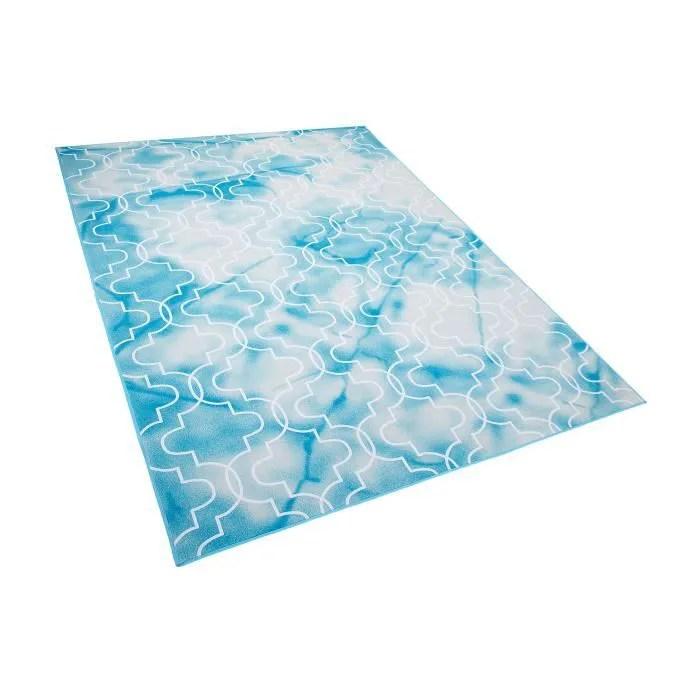 beliani tapis bleu ciel 160 x 230 cm elazig