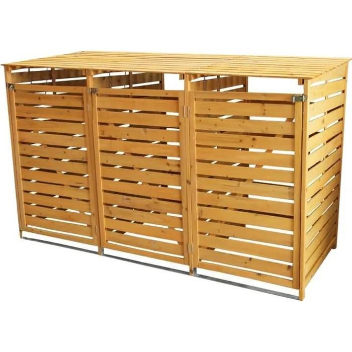 cache poubelle triple en bois a portes verrouillab