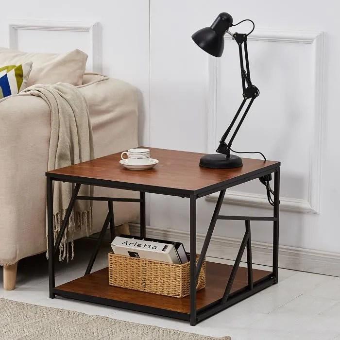 vecelo table basse carre bout de canape en bois et metal style vintage pour salon chambre ou terrasse