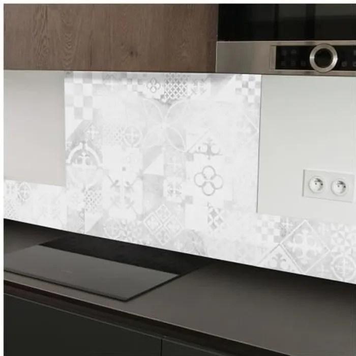 99 deco credence cuisine effet beton et carreaux de ciment uses l60xh70cm gris