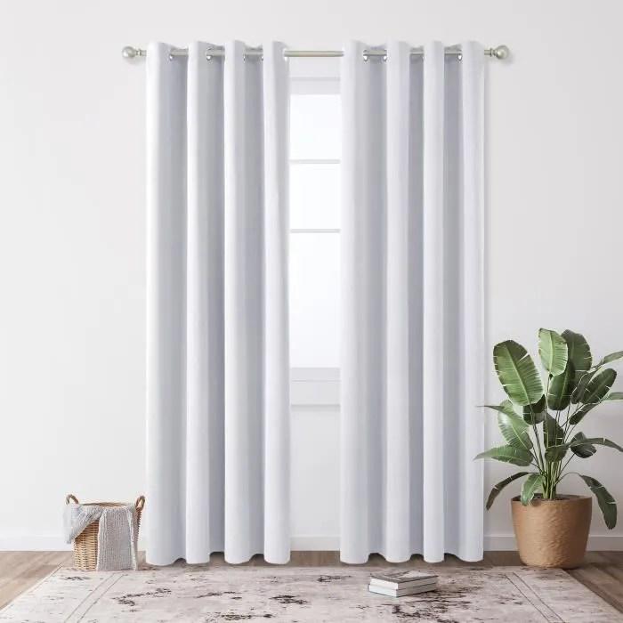 deconovo lot de 2 rideaux a oeillets 135cm x 240cm isolant thermique blanc pale gris