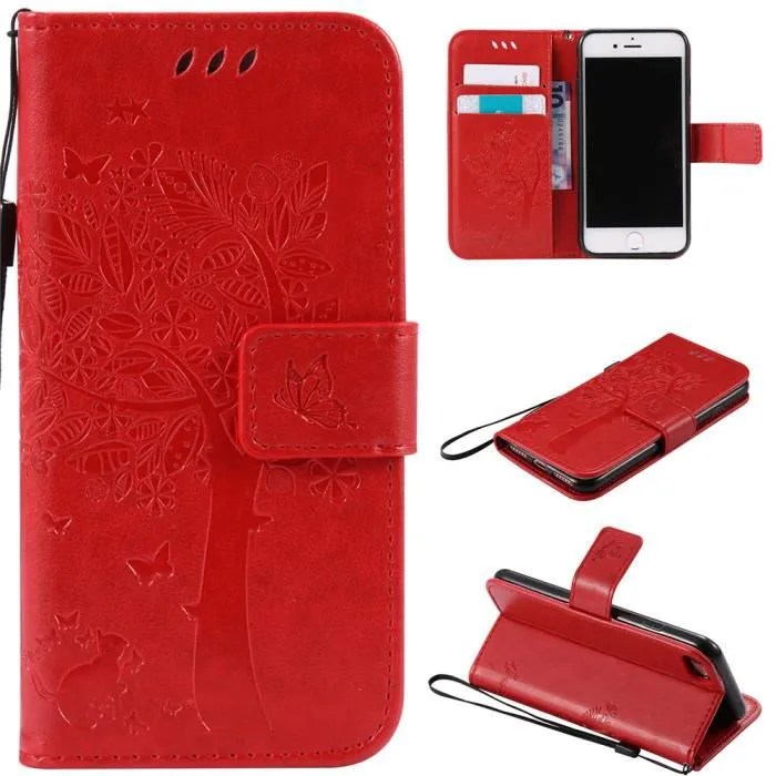 housse huawei p smart 2020 6 21 avec support pu cuir etui portefeuille protection coque iphone se 2020 rouge