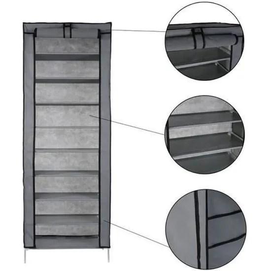 armoire a chaussure rangement chaussures de tissu de toile diy 10 tier avec la couverture antipoussiere gris argente